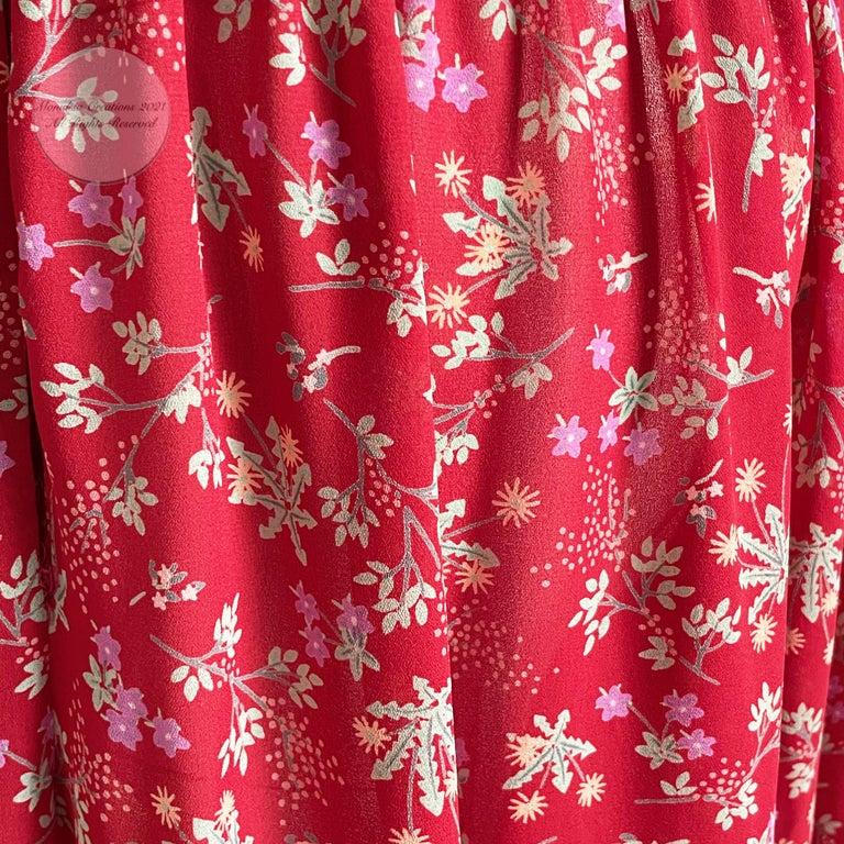 Vintage Giorgio Sant Angelo Blouse & Palazzo Pant Suit 2pc Floral Print Size 8  For Sale 8