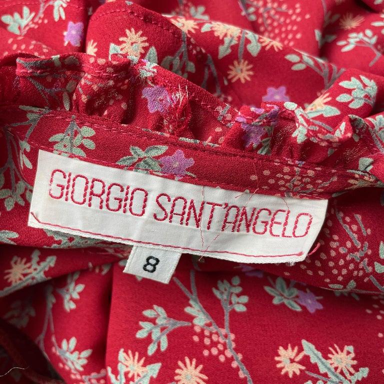 Vintage Giorgio Sant Angelo Blouse & Palazzo Pant Suit 2pc Floral Print Size 8  For Sale 9
