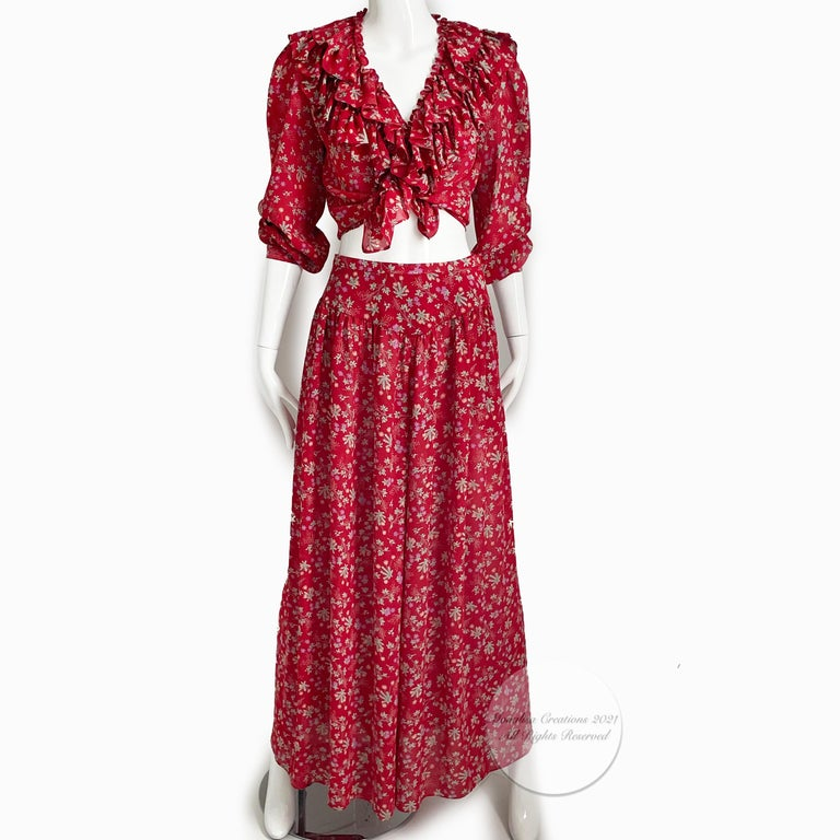 Red Vintage Giorgio Sant Angelo Blouse & Palazzo Pant Suit 2pc Floral Print Size 8  For Sale