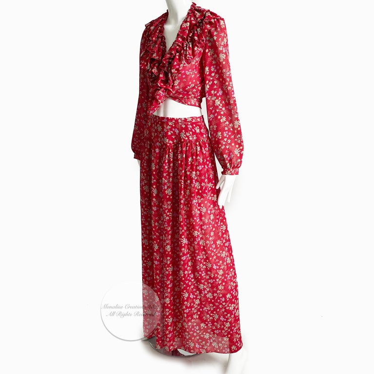 Vintage Giorgio Sant Angelo Blouse & Palazzo Pant Suit 2pc Floral Print Size 8  In Good Condition For Sale In Port Saint Lucie, FL