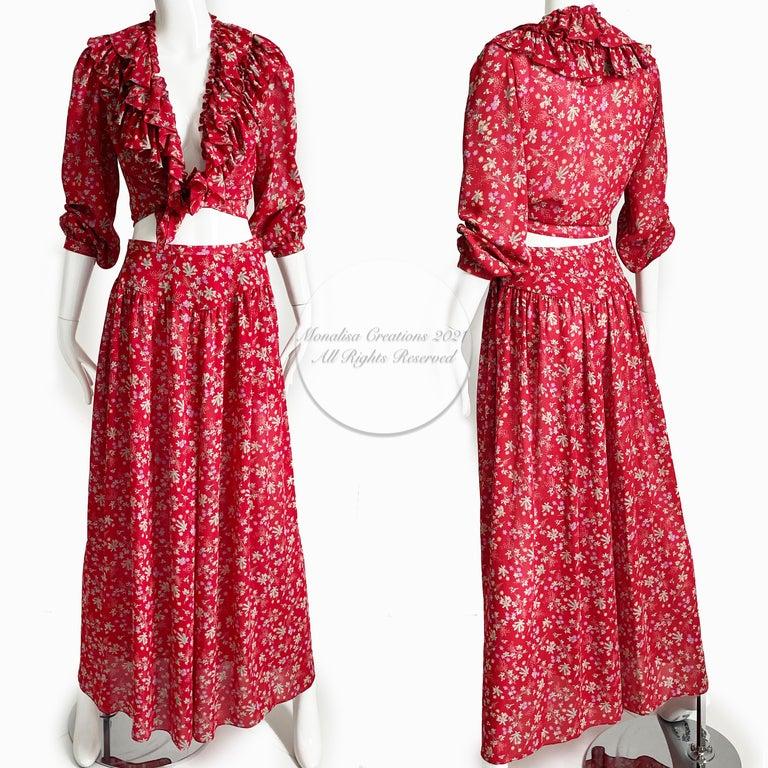 Women's or Men's Vintage Giorgio Sant Angelo Blouse & Palazzo Pant Suit 2pc Floral Print Size 8  For Sale
