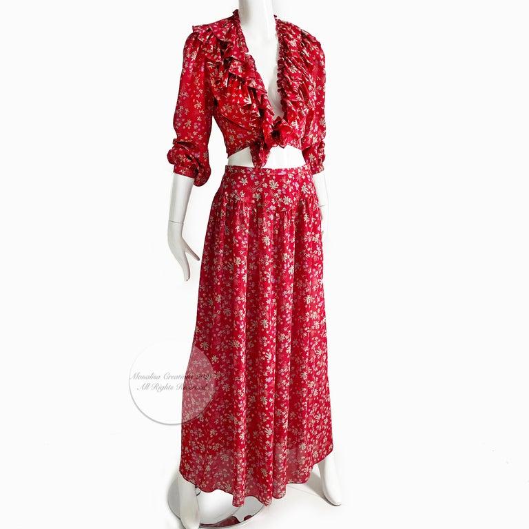 Vintage Giorgio Sant Angelo Blouse & Palazzo Pant Suit 2pc Floral Print Size 8  For Sale 1