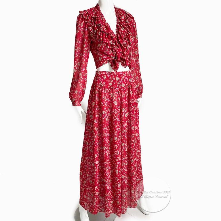 Vintage Giorgio Sant Angelo Blouse & Palazzo Pant Suit 2pc Floral Print Size 8  For Sale 2