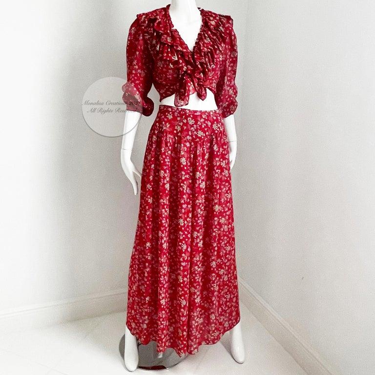 Vintage Giorgio Sant Angelo Blouse & Palazzo Pant Suit 2pc Floral Print Size 8  For Sale 3