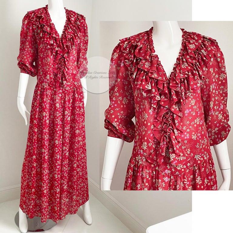 Vintage Giorgio Sant Angelo Blouse & Palazzo Pant Suit 2pc Floral Print Size 8  For Sale 4