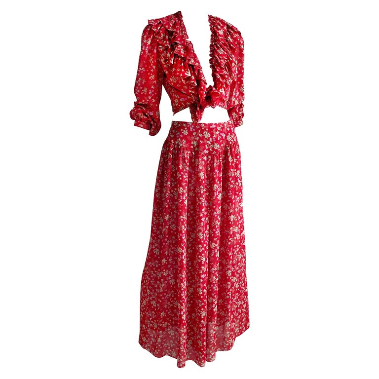 Vintage Giorgio Sant Angelo Blouse & Palazzo Pant Suit 2pc Floral Print Size 8  For Sale
