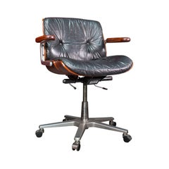 Vintage Giroflex Desk Chair, Swiss, Rosewood, Leather, Office Seat, Martin Stoll