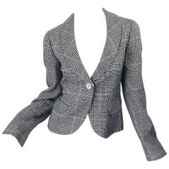 Vintage Giorgio Armani Size 10 Brown Blue Ivory Houndstooth 90s Blazer Jacket
