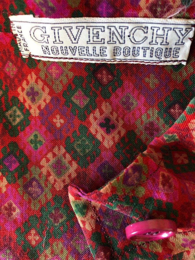 Vintage Givenchy 1980s Mosaic Tile Print Pink + Green Lightweight Wool Sac Dress For Sale 5