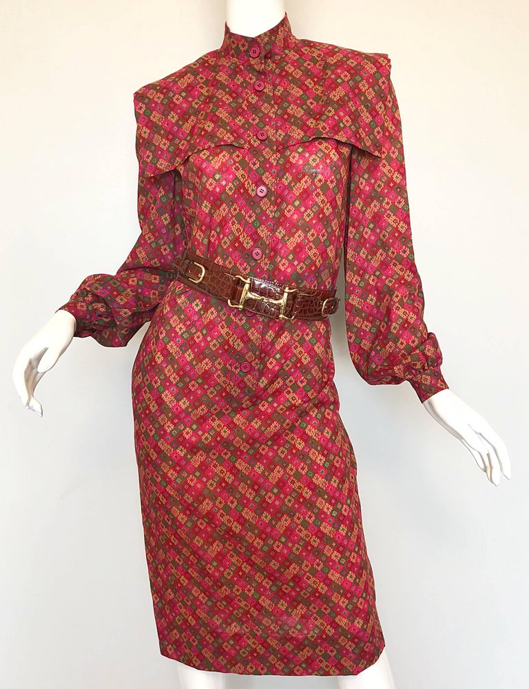 Brown Vintage Givenchy 1980s Mosaic Tile Print Pink + Green Lightweight Wool Sac Dress For Sale