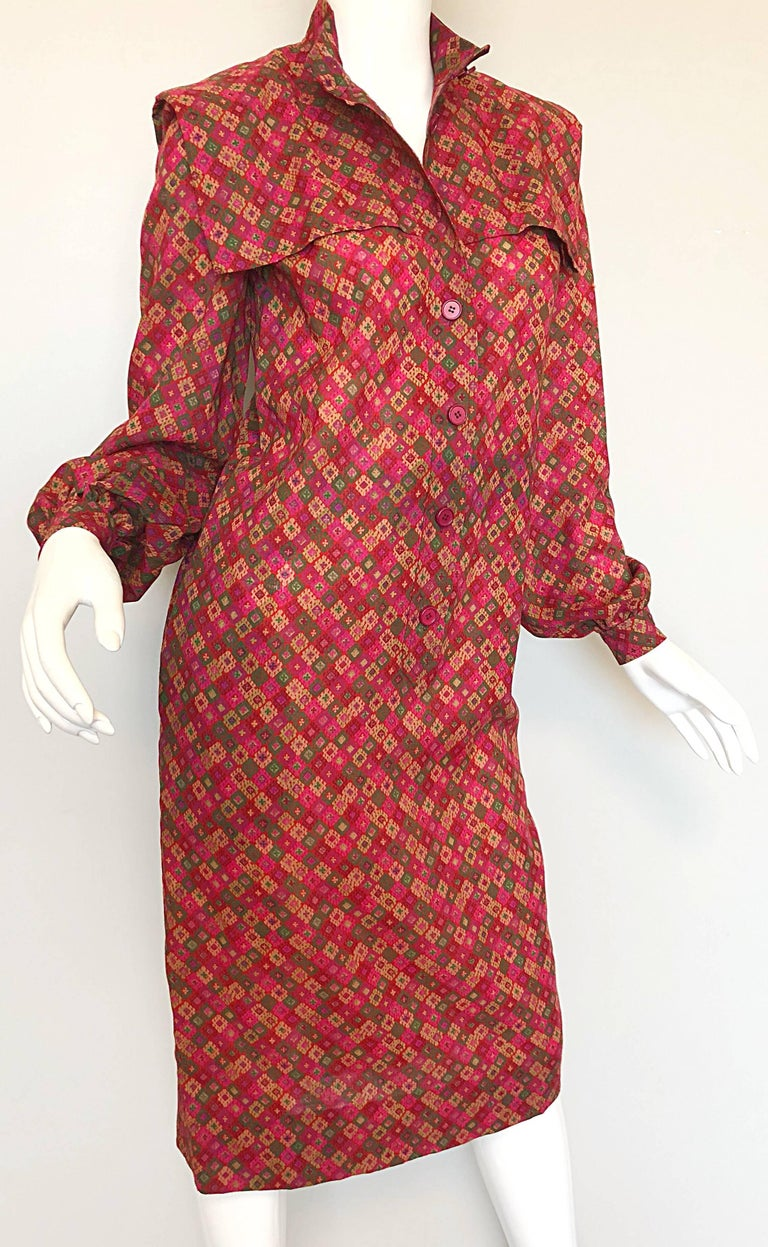 Vintage Givenchy 1980s Mosaic Tile Print Pink + Green Lightweight Wool Sac Dress For Sale 1