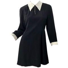 Vintage Givenchy 1990s Black and White Rhinestone Long Sleeve 90s Mini Dress