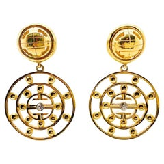 Vintage Givenchy 4G Gold Logo Statement Earrings 1980S