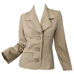 Vintage Givenchy Couture by Alexander McQueen 1990s Khaki Tan 90s Jacket Blazer