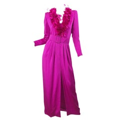 Vintage Givenchy Couture Hot Pink Fuchsia 1980s Feathers Belted Long Sleeve Gown