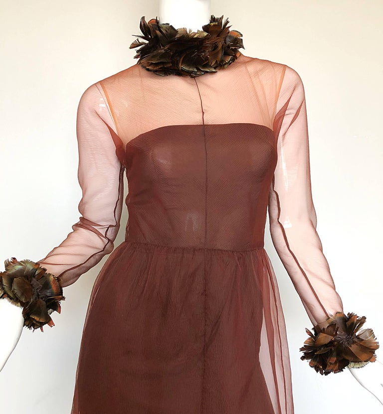 Vintage Givenchy Couture Numbered 1960s Chocolate Brown Feathered Chiffon Gown In Excellent Condition For Sale In Chicago, IL