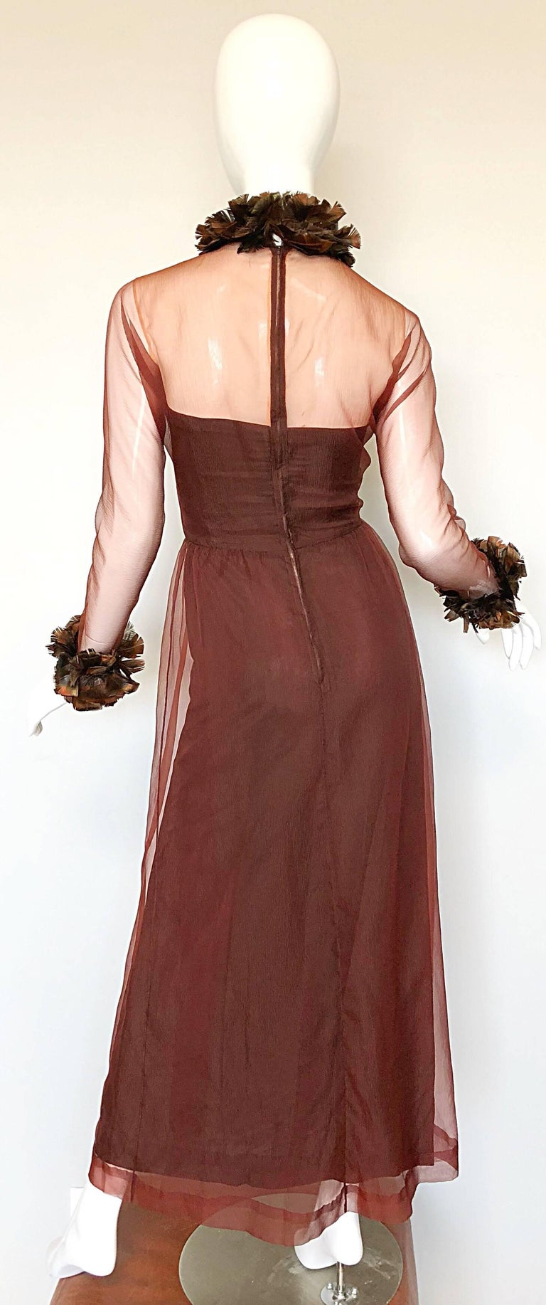 Women's Vintage Givenchy Couture Numbered 1960s Chocolate Brown Feathered Chiffon Gown For Sale