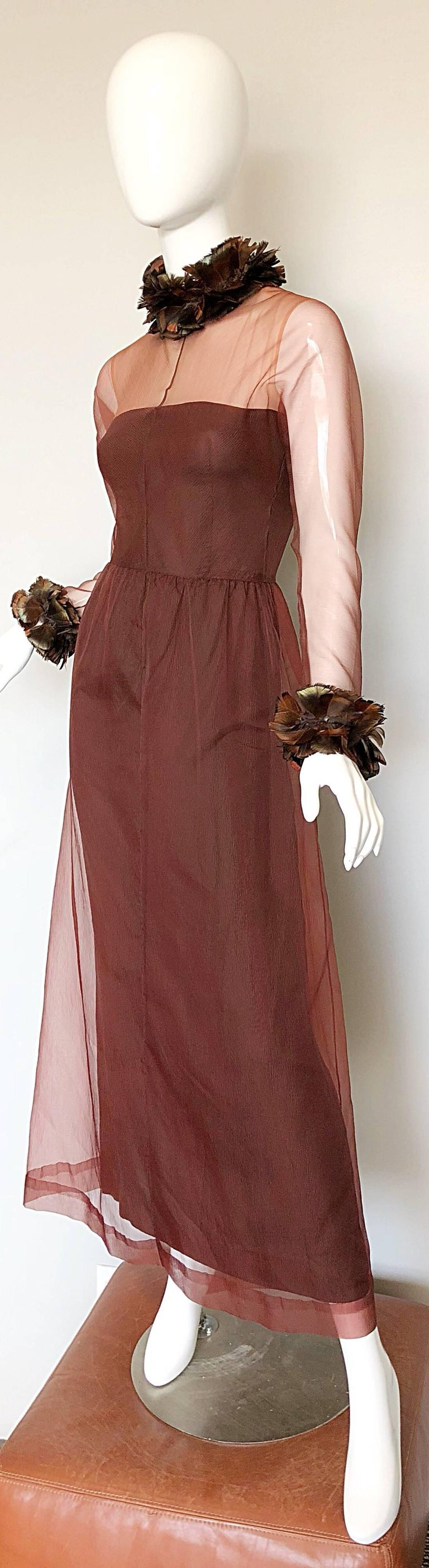 Vintage Givenchy Couture Numbered 1960s Chocolate Brown Feathered Chiffon Gown For Sale 1