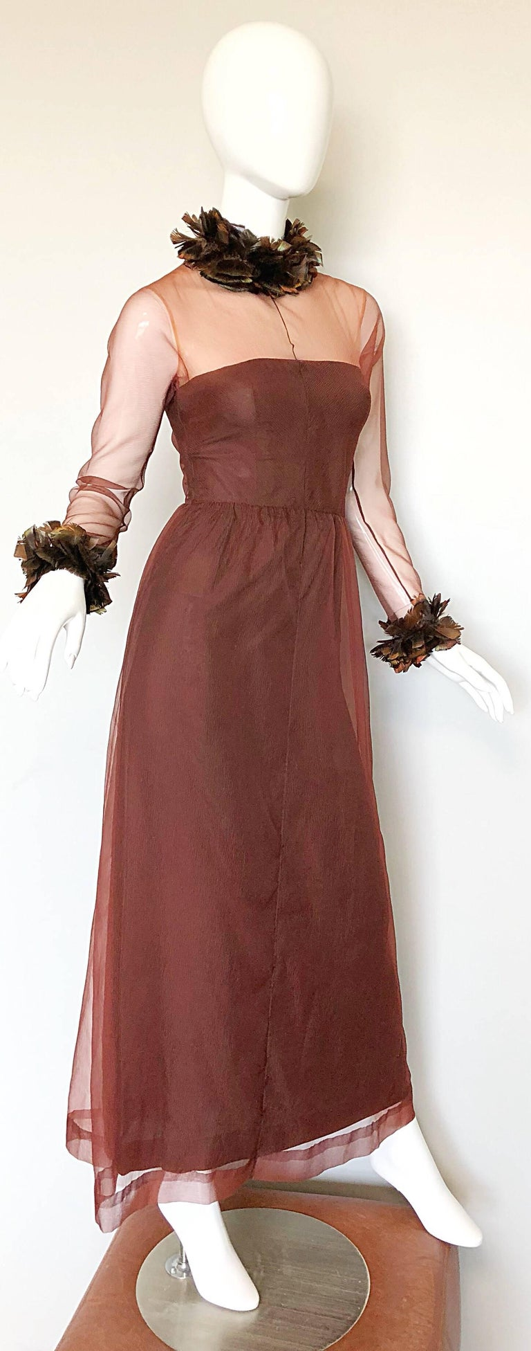 Vintage Givenchy Couture Numbered 1960s Chocolate Brown Feathered Chiffon Gown For Sale 2
