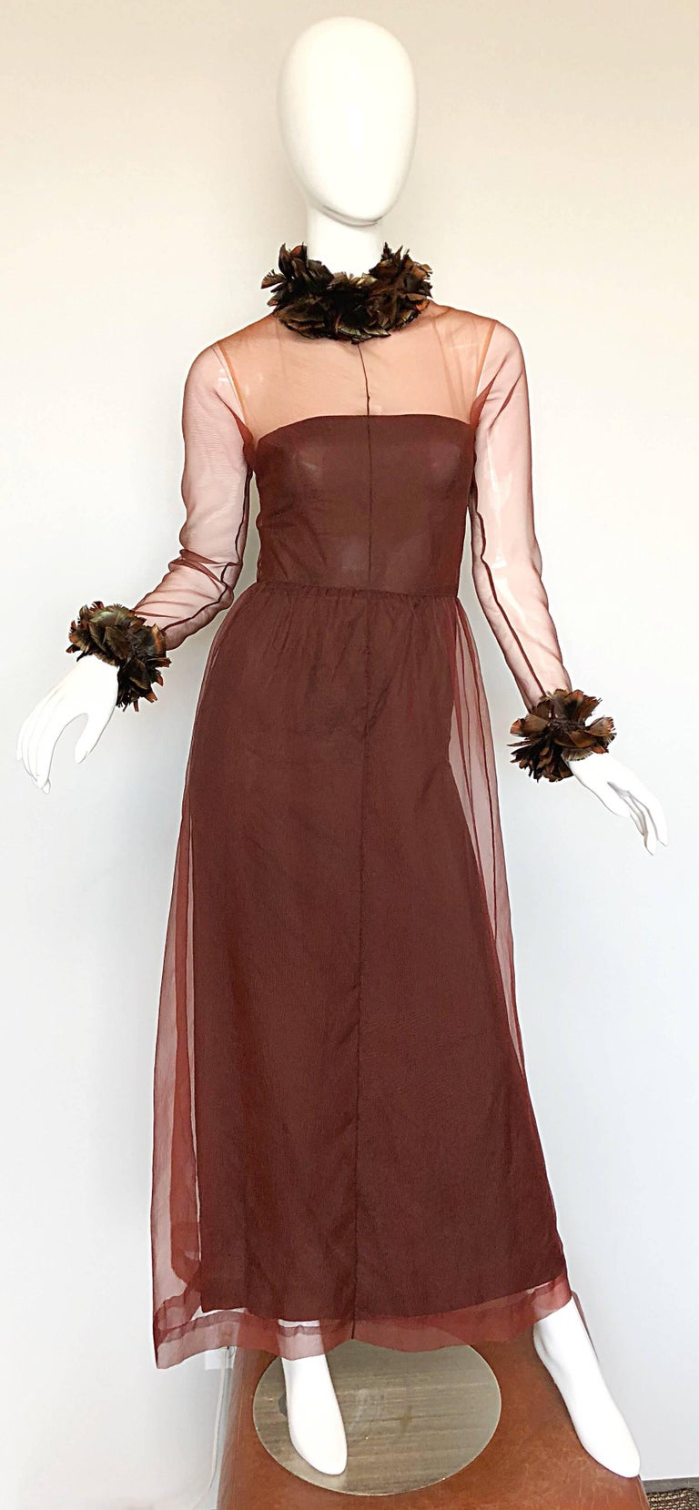 Vintage Givenchy Couture Numbered 1960s Chocolate Brown Feathered Chiffon Gown For Sale 3