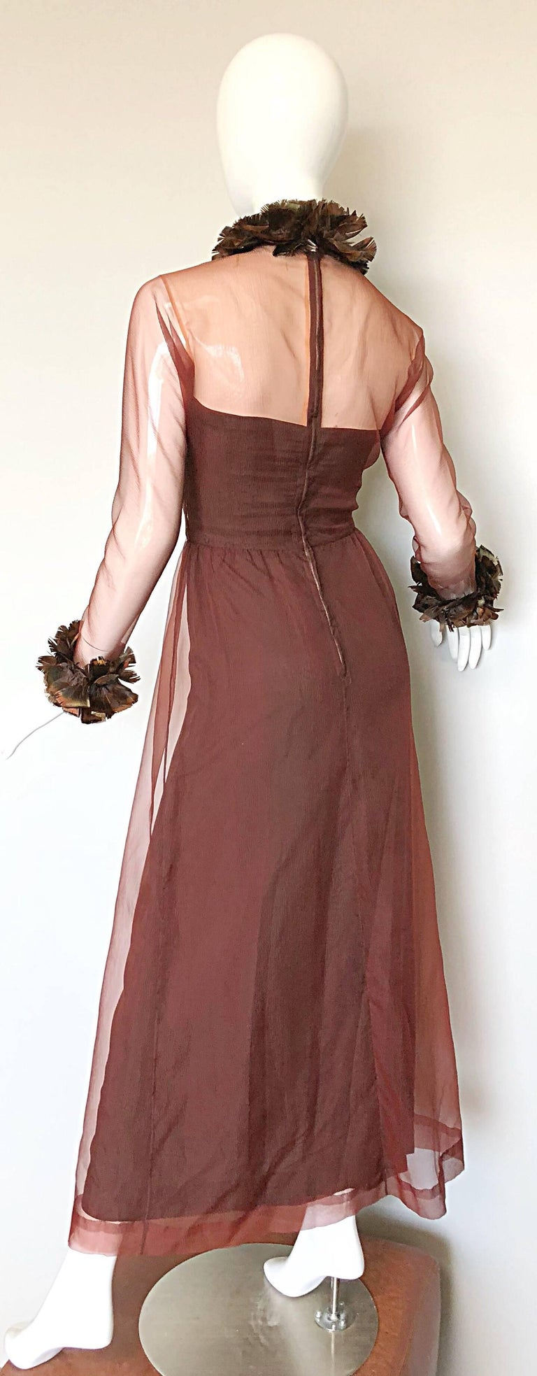Vintage Givenchy Couture Numbered 1960s Chocolate Brown Feathered Chiffon Gown For Sale 4