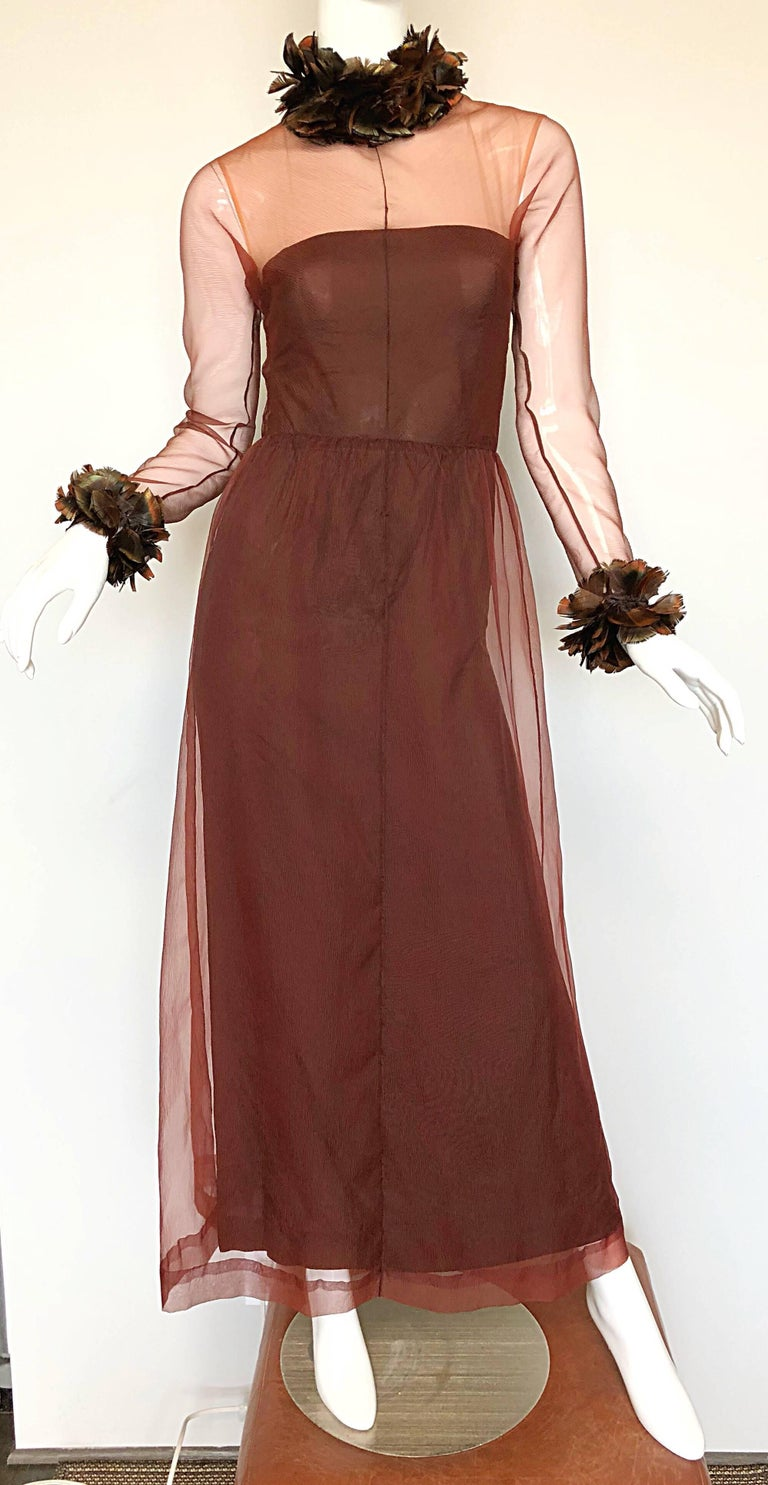 Vintage Givenchy Couture Numbered 1960s Chocolate Brown Feathered Chiffon Gown For Sale 5