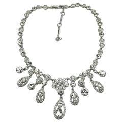 Vintage Givenchy Crystal Drop Bib Necklace 1990s