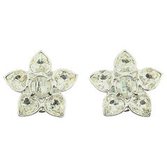 Vintage Givenchy Crystal Flower Earrings 2000s