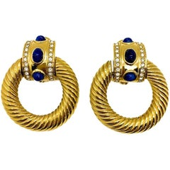 Vintage Givenchy Door Knocker Gold & Lapis Earrings 1980s