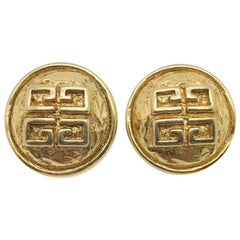 Vintage Givenchy Earrings Hammered 4g Logo 1980s