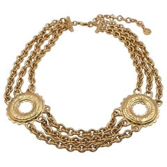 Vintage Givenchy Etruscan Style Massive Metal Necklace 1980's