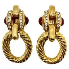 Vintage Givenchy Faux Ruby & Gold Doorknocker Earrings 1980s