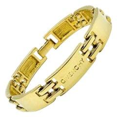 Vintage Givenchy Gold Bar Logo Bracelet 1990s