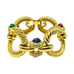 Vintage Givenchy Gold & Cabochon Sapphire Emerald Ruby Glass Jewelled Bracelet