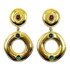 Vintage Givenchy Gold & Cabochon Sapphire Emerald Ruby Glass Jewelled Earrings