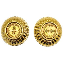 Vintage Givenchy Gold Coin Earrings 1980s