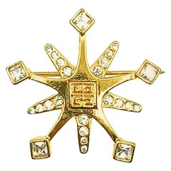 Vintage Givenchy Gold Crystal Snowflake Brooch 1990s