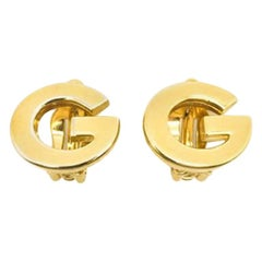 Vintage Givenchy Gold G Logo Earrings 1980s