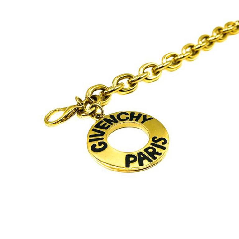 Vintage Givenchy Gold Logo Disc Charm Bracelet 1990S In Good Condition For Sale In Wilmslow, GB
