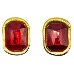 Vintage Givenchy Gold & Red Runway Earrings 1980s