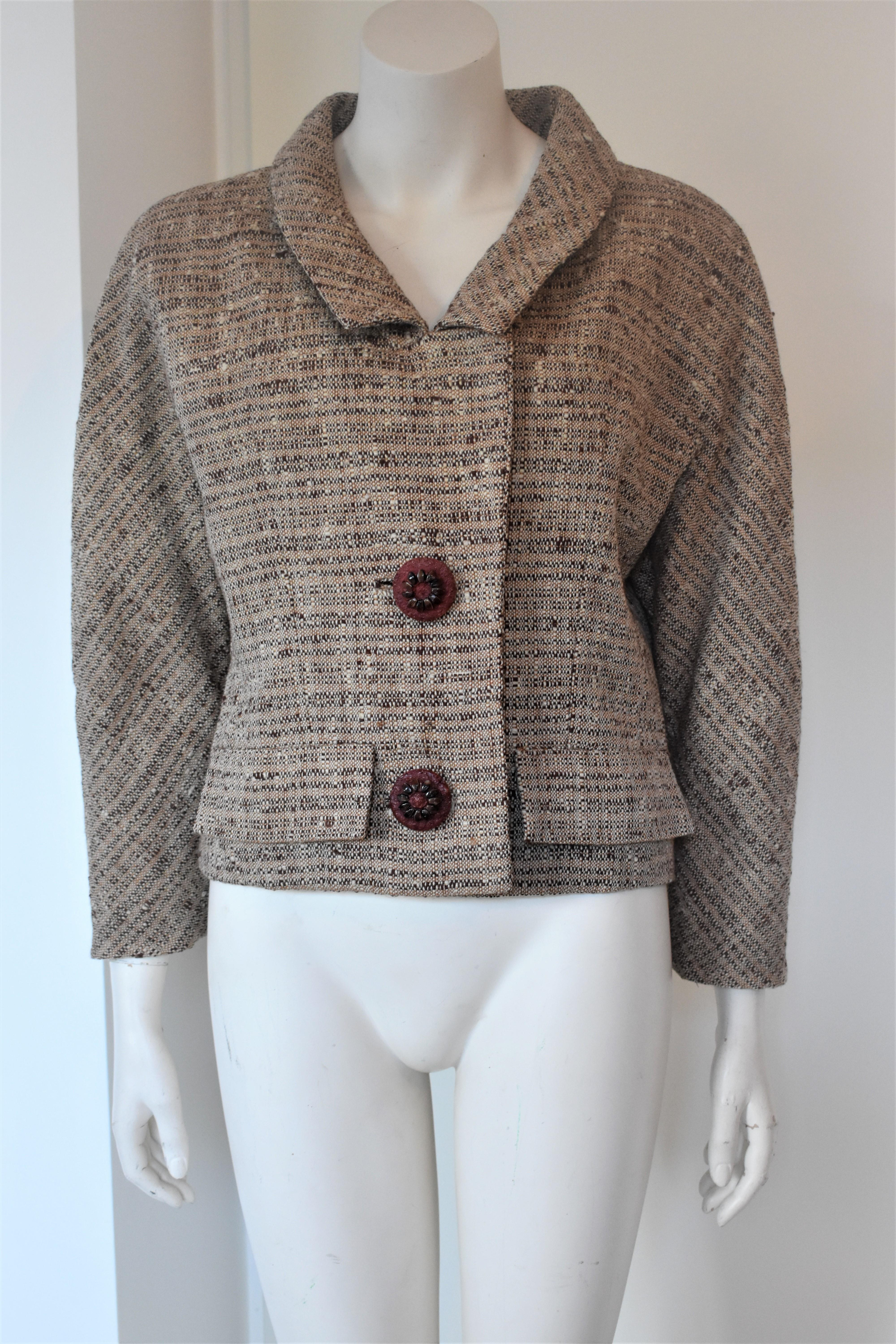 0f3ca5f545ae8d Vintage Givenchy Haute Couture Tweed Jacket Audrey Hepburn Style, Circa  1958 For Sale at 1stdibs