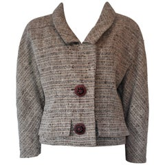 FINAL SALE Givenchy Haute Couture Tweed Jacket Audrey Hepburn Style, Circa 1958