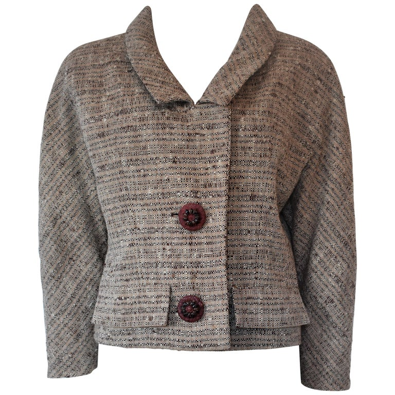 53535c869 Vintage Givenchy Haute Couture Tweed Jacket Audrey Hepburn Style, Circa  1958 For Sale
