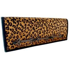 Vintage Givenchy Haute Leopard Envelope Clutch