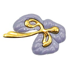 Vintage Givenchy Lilac Stylised Flower Brooch 1980