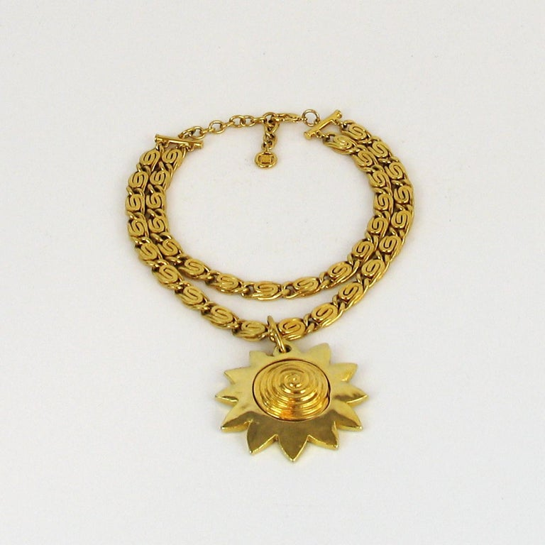 French Vintage Givenchy Necklace with Sun Motif Pendant, 1980s For Sale