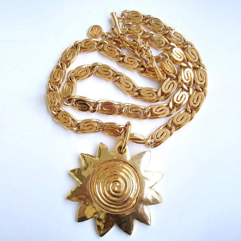 Gilt Vintage Givenchy Necklace with Sun Motif Pendant, 1980s For Sale