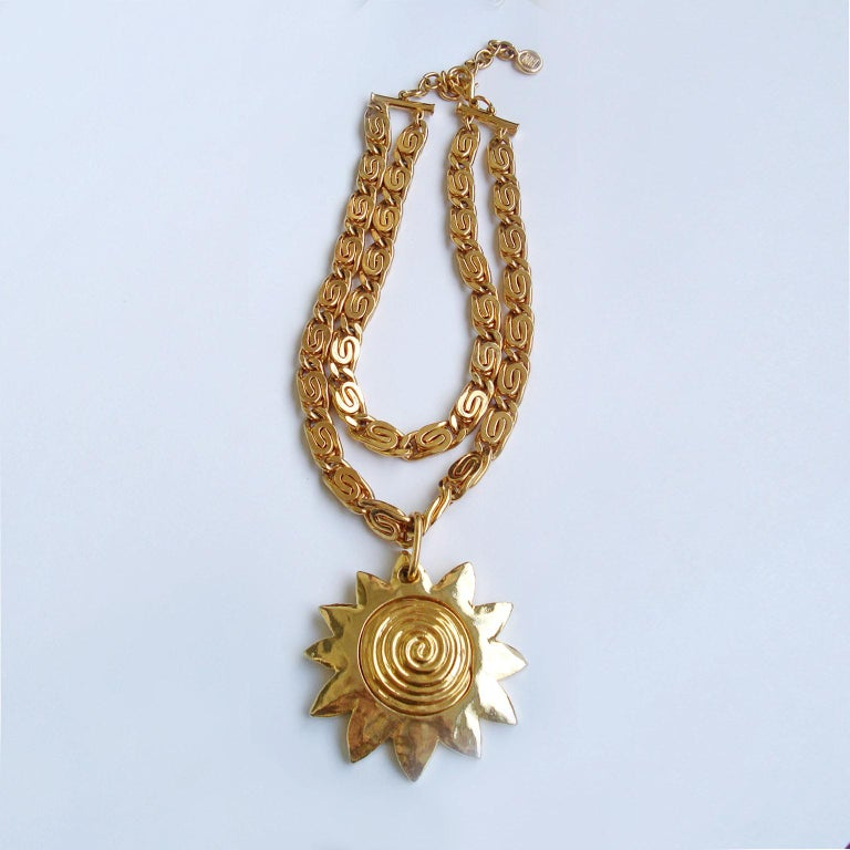 Late 20th Century Vintage Givenchy Necklace with Sun Motif Pendant, 1980s For Sale