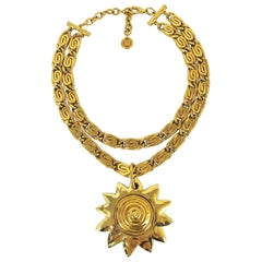 Vintage Givenchy Necklace with Sun Motif Pendant, 1980s