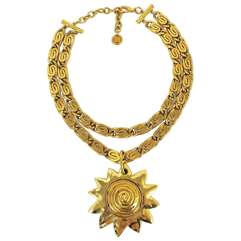 Vintage Givenchy Necklace with Sun Motif Pendant, 1980s For Sale